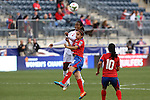 24 October 2014: Dernelle Mascall (TRI) (7) and Katherine Alvaredo (CRC) (16) challenge for a header. The Costa Rica Women's National Team played the Trinidad & Tobago Women's National Team at PPL Park in Chester, Pennsylvania in a 2014 CONCACAF Women's Championship semifinal game, which serves as a qualifying tournament for the 2015 FIFA Women's World Cup in Canada. Costa Rica advanced to the championship game, and qualified for next year's Women's World Cup, by winning the penalty shootout 3-0 after the game ended in a 1-1 tie after double overtime.