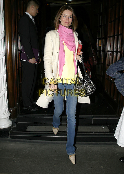 PLUM SYKES.At the book launch party of Santa Montefiore, Asprey London, New Bond Street, London, April 12th 2005..full length yellow jacket cream coat white jeans pink scarf pashmina.Ref: AH.www.capitalpictures.com.sales@capitalpictures.com.©Adam Houghton/Capital Pictures.
