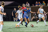 Boston, MA - Friday August 04, 2017: Desiree Scott and Angela Salem during a regular season National Women's Soccer League (NWSL) match between the Boston Breakers and FC Kansas City at Jordan Field.