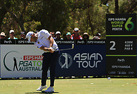 Lee Westwood (ENG) in action on the 2nd during Round 3 of the ISPS Handa World Super 6 Perth at Lake Karrinyup Country Club on the Saturday 10th February 2018.<br /> Picture:  Thos Caffrey / www.golffile.ie<br /> <br /> All photo usage must carry mandatory copyright credit (&copy; Golffile | Thos Caffrey)
