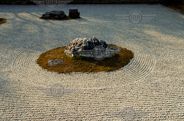 A sand garden at the Ryoanji Temple.