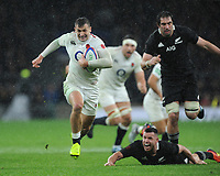 Jonny May of England leaves Samuel Whitelock and Ryan Crotty of New Zealand in his wake during the Quilter International match between England and New Zealand at Twickenham Stadium on Saturday 10th November 2018 (Photo by Rob Munro/Stewart Communications)