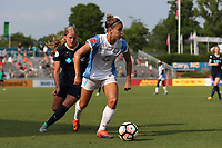 Cary, North Carolina  - Saturday April 29, 2017: Steph Catley (7) and Makenzy Doniak during a regular season National Women's Soccer League (NWSL) match between the North Carolina Courage and the Orlando Pride at Sahlen's Stadium at WakeMed Soccer Park.