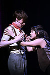 """Reeve Carney and Eva Noblezada during the Broadway Press Performance Preview of """"Hadestown""""  at the Walter Kerr Theatre on March 18, 2019 in New York City."""