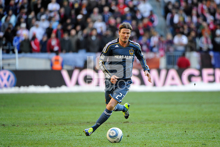 David Beckham (23) of the Los Angeles Galaxy during the 1st leg of the Major League Soccer (MLS) Western Conference Semifinals against the New York Red Bulls at Red Bull Arena in Harrison, NJ, on October 30, 2011.