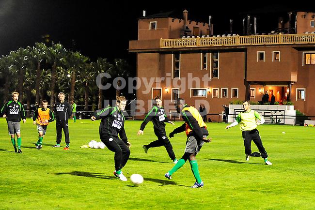 voetbal fc groningen trainingskamp marbella seizoen 2008-2009 06-01-2009  nicklas pedersen met gibril sankoh.fotograaf jan kanning