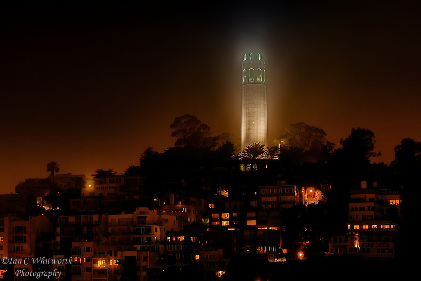 A view at night of Coit Tower on Telegraph Hill in San Francisco.