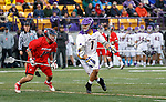 Tehoka Nanticoke (#1) moves in on the Richmond defense as UAlbany Men's Lacrosse defeats Richmond 18-9 on May 12 at Casey Stadium in the NCAA tournament first round.
