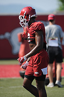 NWA Democrat-Gazette/ANDY SHUPE<br /> Arkansas receiver Mike Woods lines up Tuesday, Aug. 6, 2019, during practice at the university practice field. Visit nwadg.com/photos to see more photographs from the practice.