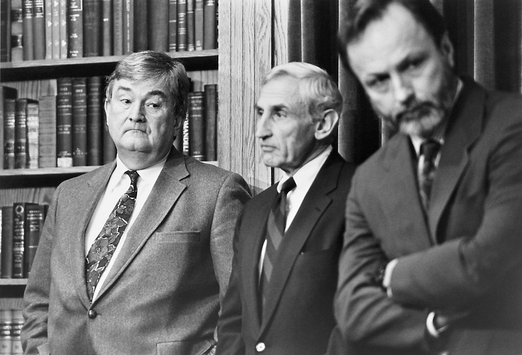 "Rep. Charles Grandison ""Charlie"" Rose III, D-N.C., Rep. Romano Louis ""Ron"" Mazzoli, D-Ky., Rep. David Edward Bonior, D-Mich., speak at a press conference in the House Radio/TV gallery. November 14, 1991 (Photo by Laura Patterson/CQ Roll Call)"
