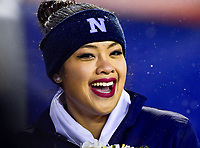 PHILADELPHIA, PA - DEC 9, 2017: Navy Midshipmen cheerleader is all smiles on the sideline during game between Army and Navy at Lincoln Financial Field Philadelphia, PA. Army defeated Navy 14-13 to win the Commander in Chief Cup. (Photo by Phil Peters/Media Images International)
