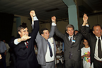 Montreal (QC) CANADA - File Photo taken between 1984 and 1999- Lucien Bouchard (L) and Gilles Duceppe (R)