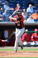 Tampa Spartans second baseman Cody deNoyelles (13) at bat during an exhibition game against the Philadelphia Phillies on March 1, 2015 at Bright House Field in Clearwater, Florida.  Tampa defeated Philadelphia 6-2.  (Mike Janes/Four Seam Images)