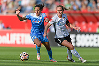 Bridgeview, IL - Sunday June 25, 2017: Christen Press, Christie Pearce during a regular season National Women's Soccer League (NWSL) match between the Chicago Red Stars and Sky Blue FC at Toyota Park.