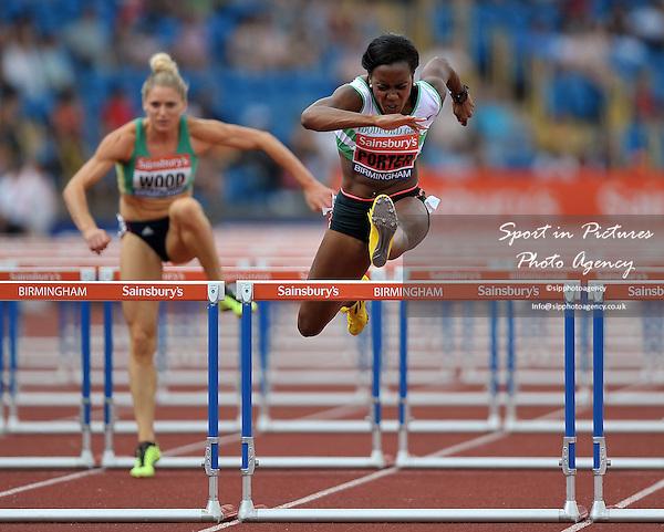 Tiffany PORTER (WOODFORD G) jumps the last hurdle. Womens 100m hurdles. Sainsburys British Championships. Diamond League. Alexander Stadium. Birmingham. UK. 13/07/2013. MANDATORY Credit Garry Bowden/SIPPA - NO UNAUTHORISED USE - 07837 394578