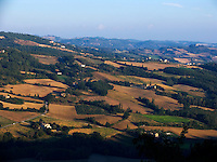 Looking north across the farmlands of Umbria from the hilltown of Montone Ital