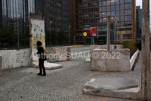 Berlin, Germany<br /> November 8, 2009<br /> <br /> Pieces of the Berlin Wall are used as decoration in front of an office building just a few feet from were the wall once stood.<br /> <br /> On November 9, 2009 the Germans and the world will celebrate the original fall on November 9, 1989, 20 years ago.