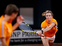 The Hague, The Netherlands, Februari 4, 2020,    Sportcampus, FedCup  Netherlands -  Balarus, practise, Indy de Vroome (NED) in the foreground captain Paul Haarhuis (NED)<br /> Photo: Tennisimages/Henk Koster