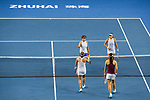 Ying-Ying Duan (bottom right)  and Xinyun Han (bottom left) of China shakes hand with Chen Liang (top left) and Zhaoxuan Yang (top right)  of China after winning the doubles Round Robin match of the WTA Elite Trophy Zhuhai 2017 at Hengqin Tennis Center on November  04, 2017 in Zhuhai, China. Photo by Yu Chun Christopher Wong / Power Sport Images