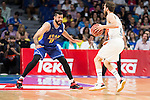 Real Madrid's Sergio Rodriguez and UCAM Murcia's Faverani during the first match of the playoff at Barclaycard Center in Madrid. May 27, 2016. (ALTERPHOTOS/BorjaB.Hojas)