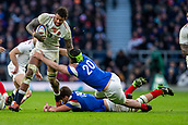 10th February 2019, Twickenham Stadium, London, England; Guinness Six Nations Rugby, England versus France; Courtney Lawes of England is tackled by Gregory Alldritt of France