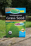 Close up packet of Horticare Multipurpose Grass Seed for lawns, UK with price label