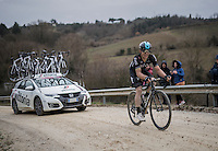 Michal Kwiatkowski (POL/SKY) powering solo towards the finish<br /> <br /> 11th Strade Bianche 2017