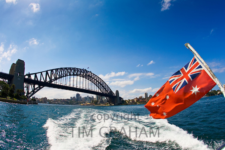 Sydney Harbour Bridge seen from a speed boat, Australia