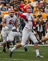 Youngstown State Penguins quarterback Hunter Wells. The Pitt Panthers defeated the Youngstown State Penguins 28-21 in overtime at Heinz Field, Pittsburgh, Pennsylvania on September 02, 2017.