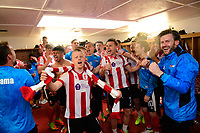 Lincoln City players celebrate in the changing room after the game<br /> <br /> Photographer Chris Vaughan/CameraSport<br /> <br /> Vanarama National League - Lincoln City v Macclesfield Town - Saturday 22nd April 2017 - Sincil Bank - Lincoln<br /> <br /> World Copyright &copy; 2017 CameraSport. All rights reserved. 43 Linden Ave. Countesthorpe. Leicester. England. LE8 5PG - Tel: +44 (0) 116 277 4147 - admin@camerasport.com - www.camerasport.com