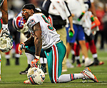 7 December 2008: Miami Dolphins' linebacker Joey Porter takes a time out during the first regular season NFL game ever played in Canada. The Dolphins defeated the Buffalo Bills 16-3 at the Rogers Centre in Toronto, Ontario. ..Mandatory Photo Credit: Ed Wolfstein Photo