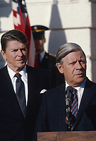 Washington DC., USA, May 2, 1981<br /> President Ronald Reagan and Helmut Schmidt the Chancellor of West Germany during the offical state arrival ceremony on the South Lawn of the White House<br /> ein Credit: Mark Reinstein/MediaPunch