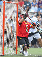 Baltimore, MD - April 28, 2018: Maryland Terrapins Dan Morris (8) makes a save during game between John Hopkins and Maryland at  Homewood Field in Baltimore, MD.  (Photo by Elliott Brown/Media Images International)
