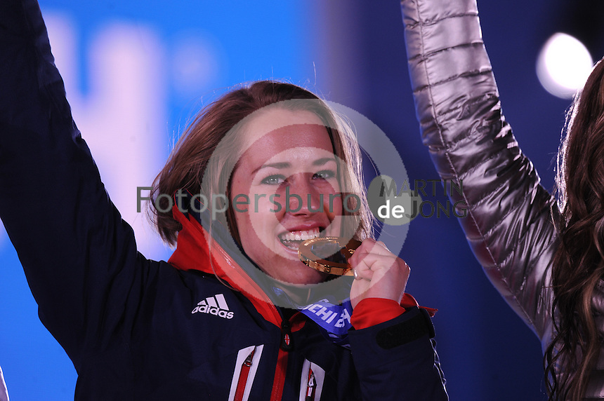 OLYMPICS: SOCHI: Medal Plaza, 15-02-2014, Skeleton, Women, Noelle Pikus-Pace (USA), ©photo Martin de Jong