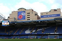On the back of the adjoining Chelsea buildings overlooking Stamford Bridge are the words ' Lest we Forget' with a very large poppy during Chelsea vs Manchester United, Premier League Football at Stamford Bridge on 5th November 2017
