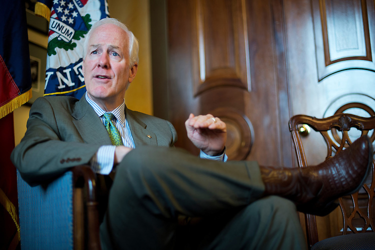 UNITED STATES - APRIL 14: Senate Majority Whip John Cornyn, R-Texas, is interviewed by CQ Roll Call in his Capitol office, April 14, 2015. (Photo By Tom Williams/CQ Roll Call)