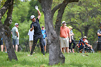 Lucas Bjerregaard (DEN) loses his club as he hits through the trees on 1 during day 2 of the Valero Texas Open, at the TPC San Antonio Oaks Course, San Antonio, Texas, USA. 4/5/2019.<br /> Picture: Golffile | Ken Murray<br /> <br /> <br /> All photo usage must carry mandatory copyright credit (&copy; Golffile | Ken Murray)