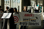 Members of Young Friends of the Earth Europe dress up as targets and the grim reaper at the entrance to the Barcelona Climate Talks. With Annex 1 countires threatening to kill their targets under Kyoto, these young people are demanding that those countires legally bound to act, take the right path and put strong offset -free Kyoto targets on the table. (©Robert vanWaarden ALL RIGHTS RESERVED)