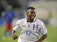 Marvin Antonio (17) of Honduras celebrates his score.  Honduras defeated Haiti 2-0 in the first round of the CONCACAF Gold Cup, at Red Bull Arena, Monday July 8 , 2013.
