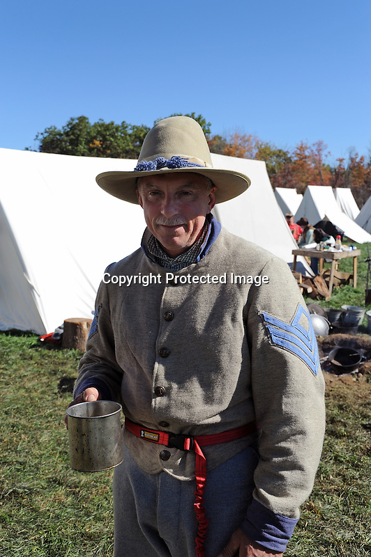 Civil War Reenactment Confederate Camp Soldier