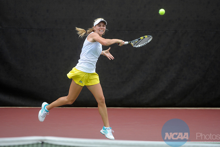 22 MAY 2012:  MacCall Jones of UCLA  rallies against the University of Florida during the Division I Women?s Tennis Championship held at the Dan Magill Tennis Complex on the University of Georgia campus in Athens, GA. Florida defeated UCLA 4-0 for the national title.  John Amis/NCAA Photos