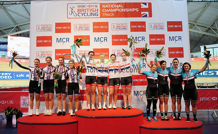 Picture by Simon Wilkinson/SWpix.com - 28/01/2017 - HSBC UK British Cycling National Track Championships. HSBC UK National Cycling Centre Manchester -  Podium<br /> Womens Team Pursuit winners Team Breeze, Manon Lloyd, Annasley Park, Emily Nelson, Eleanor Dickinson, Liv Cycling Club Epic Coaching, Boot Out Breast Cancer , Dame Sarah Storey