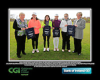 Hollywood GC team with Bank of Ireland Officials Angela Callan and Heather Raney with Junior golfers from across Ulster practicing their skills at the regional finals of the Dubai Duty Free Irish Open Skills Challenge at The CAFRE Greenmount Campus in Antrim. 2/04/2016.<br /> Picture: Golffile | Fran Caffrey<br /> <br /> <br /> All photo usage must carry mandatory copyright credit (© Golffile | Fran Caffrey)