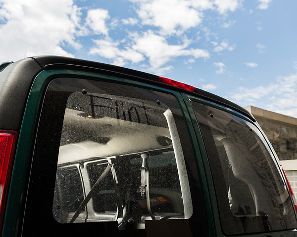 July 1, 2016. Blacksburg, Virginia. <br />  A van just back from Flint, MI  on the loading dock of one of the Virginia Tech labs. The water testing team arrived back late the night before and must unpack all the supplies from the 2 week trip. <br /> Marc Edwards is a civil engineering/environmental engineer and the Charles P. Lunsford Professor of Civil and Environmental Engineering at Virginia Tech. He is an expert in water quality and corrosion, and his work in Washington DC  and in Flint, Michigan helped to expose high levels of lead contamination in the water supplies of those two cities, triggering investigations into the cause of the pollution.