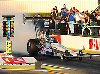 Feb 11, 2016; Pomona, CA, USA; NHRA top alcohol dragster driver Johnny Ahten during qualifying for the Winternationals at Auto Club Raceway at Pomona. Mandatory Credit: Mark J. Rebilas-USA TODAY Sports