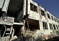 Beslan / Ossezia del Nord / Caucaso. 9/2004<br /> La scuola 1 di Beslan distrutta durante l'attacco di un gruppo di guerriglieri ceceni. Centinaia di bambini rimasero vittime dei combattimenti tra terroristi e forze speciali dell'esercito russo.<br /> The School 1in Beslan destroyed during the attack by a group of Chechen guerrillas in september 2004. Hundreds of children were victims of fighting between terrorists and special forces of the Russian army. <br /> Photo Livio Senigalliesi