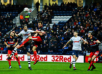 Preston North End's Paul Huntington battles for a header with Doncaster Rovers' Andy Butler<br /> <br /> Photographer Alex Dodd/CameraSport<br /> <br /> The Emirates FA Cup Third Round - Preston North End v Doncaster Rovers - Sunday 6th January 2019 - Deepdale Stadium - Preston<br />  <br /> World Copyright &copy; 2019 CameraSport. All rights reserved. 43 Linden Ave. Countesthorpe. Leicester. England. LE8 5PG - Tel: +44 (0) 116 277 4147 - admin@camerasport.com - www.camerasport.com