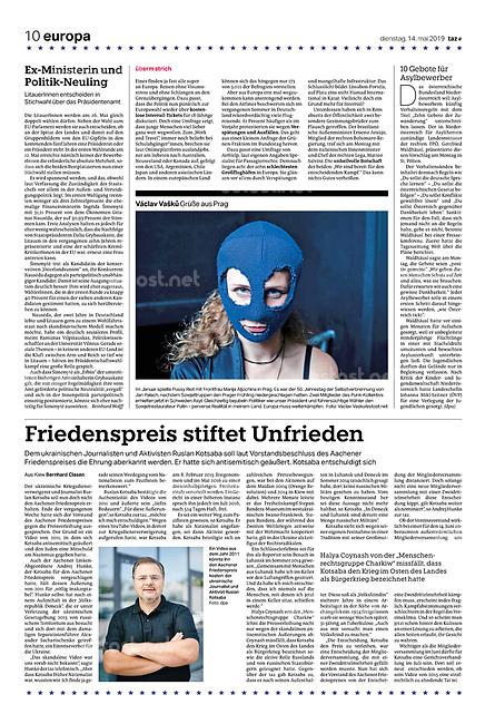 die tageszeitung taz (German daily) citing our photographers' views of the new European Parliament's agenda. Prague, Czechia, 05.2019.<br /> Photo: Vaclav Vasku