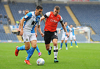 Blackburn Rovers' Stewart Downing under pressure from Luton Town's James Collins<br /> <br /> Photographer Kevin Barnes/CameraSport<br /> <br /> The EFL Sky Bet Championship - Blackburn Rovers v Luton Town - Saturday 28th September 2019 - Ewood Park - Blackburn<br /> <br /> World Copyright © 2019 CameraSport. All rights reserved. 43 Linden Ave. Countesthorpe. Leicester. England. LE8 5PG - Tel: +44 (0) 116 277 4147 - admin@camerasport.com - www.camerasport.com