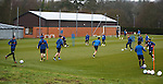 Rangers players working on their short passing game at training